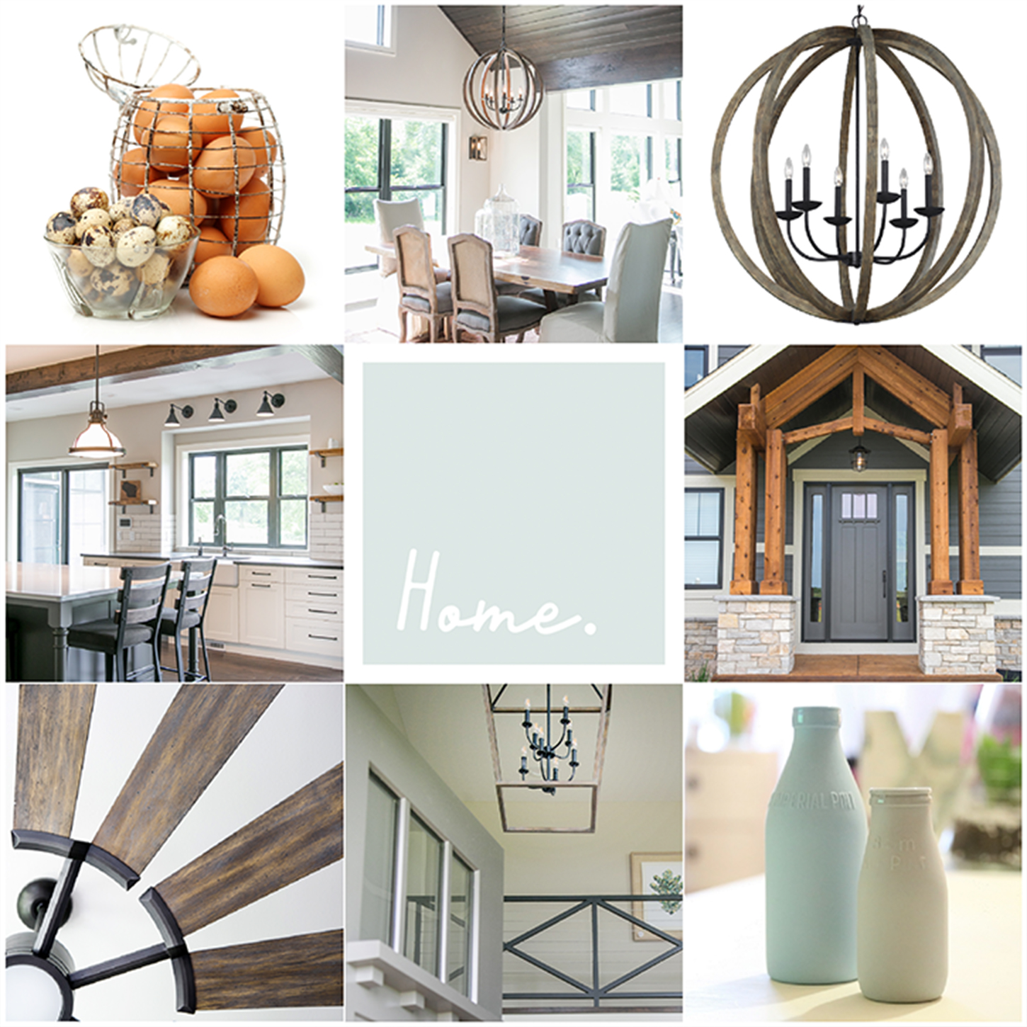 Home lighting and ceiling fan mood board with a warm farmhouse feel