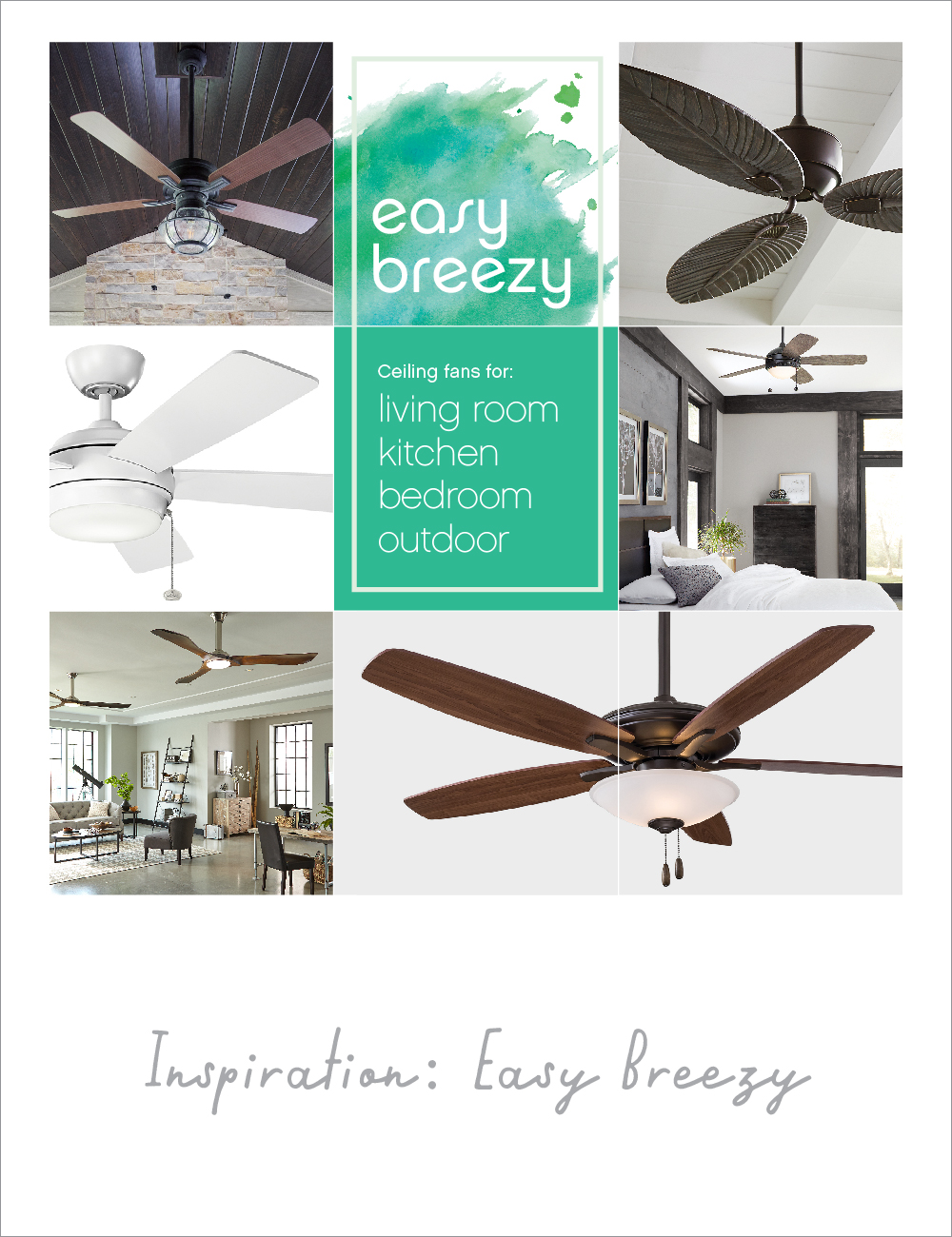 Inspiration board featuring ceiling fans for every room